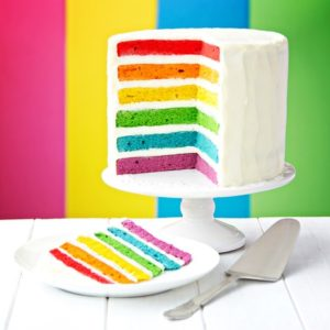 45305816 - rainbow layer cake on a cake stand